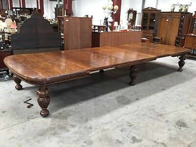 Victorian Oak Double Windout Table With 6 Leafs Over 17ft Extended X 6ft Rare