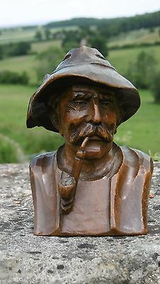 SUPERB 19thc BLACK FOREST OAK CARVED BUST OF MALE SMOKING A PIPE