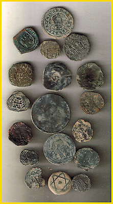 LOT(b)  18 SPANISH  ANCIENT COINS OF DIFERENT TIMES-MEDIEVAL-ROMA-COLONIAL-etc.
