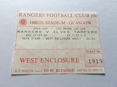 Rangers V Ilves Tampere Euro Ticket 1986