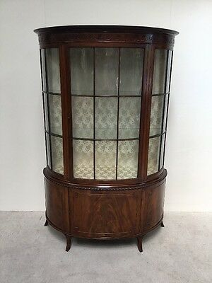 Edwardian Mahogany Bow fronted Display Cabinet Superb Design Quality