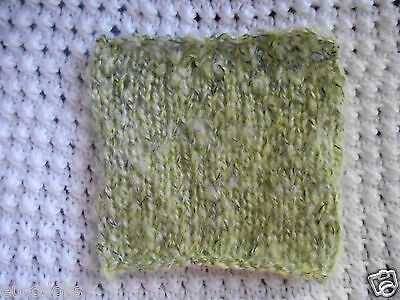 """Mini Hand knitted Blanket-rug 4. in x 5""""  green boucle for small ooak baby dolls"""