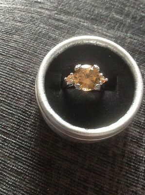Fashion Women's Silver And Orange crystal Dress Ring Brand New Size P
