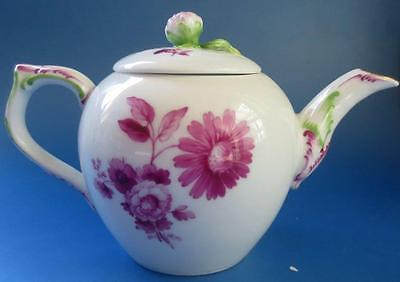 Antique Berlin Miniature Porcelain Tea Pot Teapot Hand Painted Flowers KPM