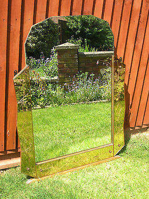 Beautiful Large French Art Deco Peach Glass Engraved Mirror - Collection Only !
