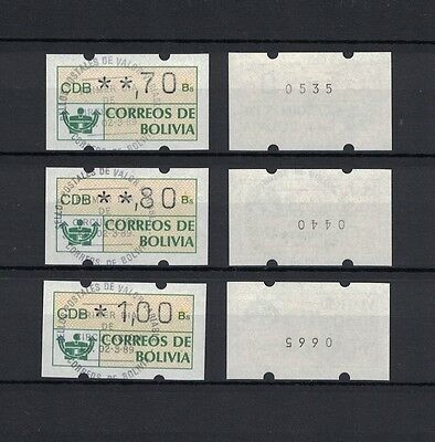 Bolivia Bolivien ATM 1989 Minr 1 stamps 3 x with + 3 x without number used / O