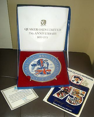 1974 Arthur Wood Quaker Oats 75th Anniversary Plate Boxed No 1478 + Cert & Book