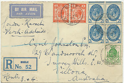 "2402 1930 Flight Cover Imperial Airways ""LONDON – KARACHI"" + ""PERTH – ADELAIDE"""
