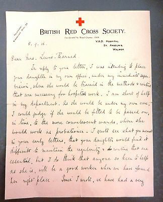british red cross society ww1 1916 letter manuscript signed touching content