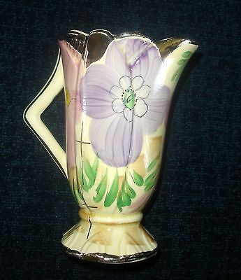 1930 Arthur Wood Art Deco Hand Painted Floral Windsor Vase Jug With Silver Gilt