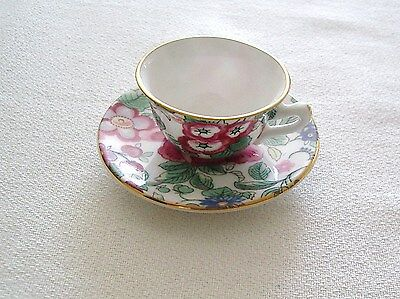 Crown Staffordshire Bone China Miniature Cup & Saucer –Colourful Floral Pattern.