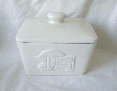 Pottery Butter Dish Embossed Classic White Butter Dish c.1980