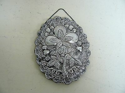 Vintage 900 Sterling Silver Repousse Turkish Wedding Mirror With Chain