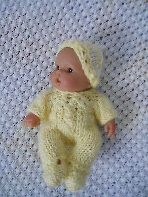 """Doll Clothes Hand-knit Yellow Romper-jumper Set Fits 7"""" to 8"""" husky baby"""