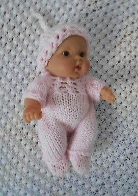 """Doll Clothes Hand-knit Pink Footed Romper Set Fits 7"""" to 8"""" Husky Baby Dolls"""