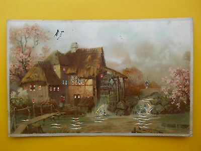 HOLD TO LIGHT *Vintage* Christmas Novelty Postcard 1905 Village Watermill
