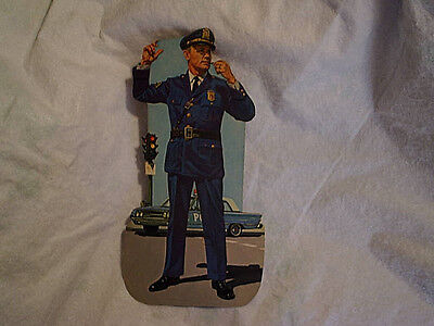 EARLY 1960's VARIETY STORE CARDBOARD POLICEMAN Picture,police car,whistle,badge