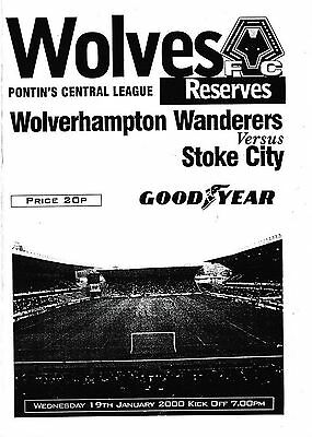 Football Programme>WOLVES RESERVES v STOKE CITY RESERVES Jan 2000