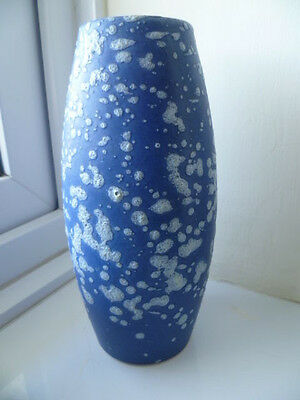 SCHEURICH WEST GERMAN Art Pottery WGP VASE 522-18 BLUE WITH SPECKLED FAT LAVA
