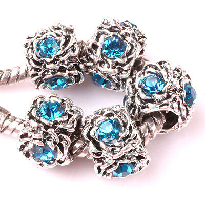 HOT 5pcs Tibetan silver Czech spacer beads fit Charm European Bracelet DIY #D73