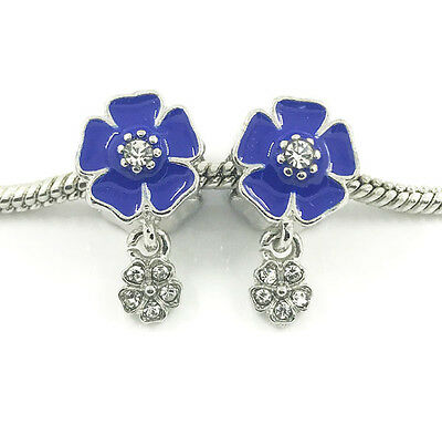 2pcs Flower Silver European Charm Crystal Spacer Beads Fit Necklace Bracelet DIY