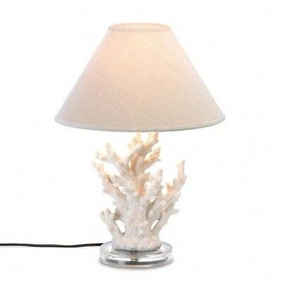 Beach Faux White Coral Table Desk Lamp Electric Glass and Metal New