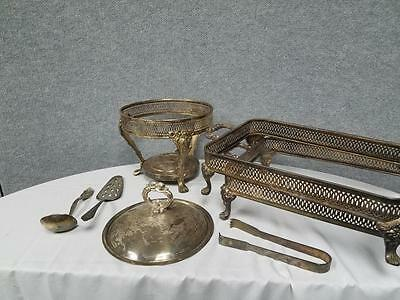 Mixed Lot of Vintage Silverplated Serving Platter Holders Utensils Etc.