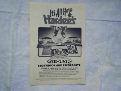 1984 GREMLINS Hardee's Restaurant AD PRINT ONLY