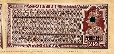 ADEN 1949 KGVI 2R+ 1R + 12a COURT FEE on DOCUMENT REVENUE FISCAL TAX (4 scans)