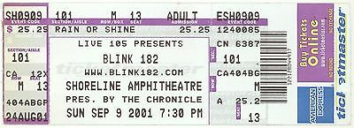 BLINK 182 NEW FOUND GLORY PENNYWISE 9/9/01 Shoreline Amph Ticket! Sacramento