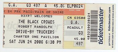 BLACK CROWES & ROBERT RANDOLPH DRIVE-BY TRUCKERS 6/24/06 Chicago Ticket Stub!