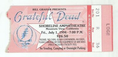 Grateful Dead 7/1/94 Shoreline Amphitheatre Mail Order Concert Ticket Stub!