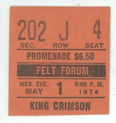 RARE King Crimson 5/1/74 NYC NY Madison Square Garden Concert Ticket Stub! MSG