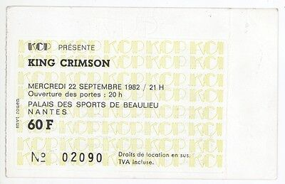 Rare KING CRIMSON 9/22/82 Nantes France Palais des Sports Concert Ticket Stub!