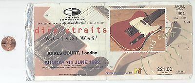 Rare DIRE STRAITS WAS NOT WAS 6/7/92 London Earls Court GIGANTIC Ticket Stub!