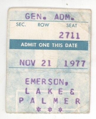 RARE Emerson Lake & Palmer 11/21/77 Concert Ticket Stub from ? And ELP