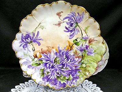 Limoges France Hand Painted Mums Floral Platter Haviland Charger