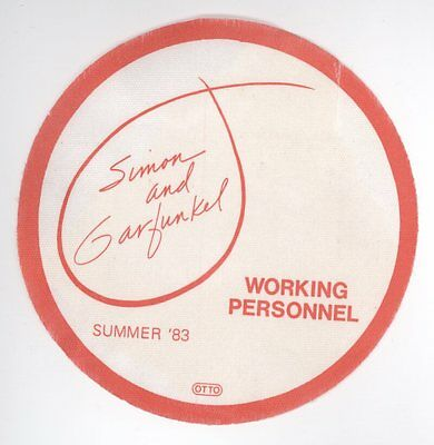 Simon and Garfunkel Summer 1983 Red WORKING PERSONNEL Backstage Pass! Paul & Art