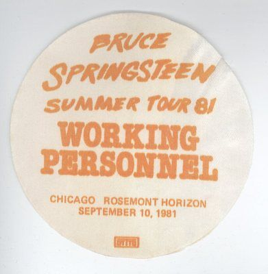 ORIG Bruce Springsteen 9/10/81 Chicago WORKING PERSONNEL Backstage Pass!