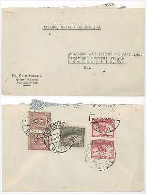 1941 Air Mail Cover from Quito Ecuador to Louisville KY; 5 Stamps on Back!