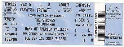 Rare THE STROKES & WOLFMOTHER 9/12/06 Boston MA Concert Ticket!