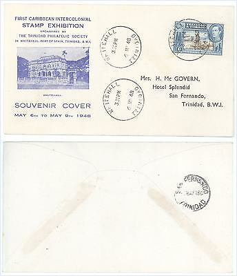 1948 Whitehall Trinidad BWI 1st Caribbean Intercolonial Stamp Exhibition Cover!