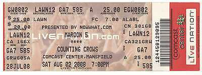 Rare MAROON 5 & COUNTING CROWS 8/2/08 Mansfield MA Concert Ticket! Boston