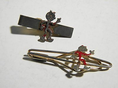 Two Vintage Reddy Kilowatt Tie Clasp Bar Pin Necktie  Marked: M.r.