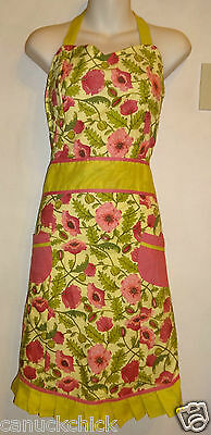 APRON WITH BIB VINTAGE RETRO RUFFLY COTTON PINAFORE Avocado Green & Pink Floral