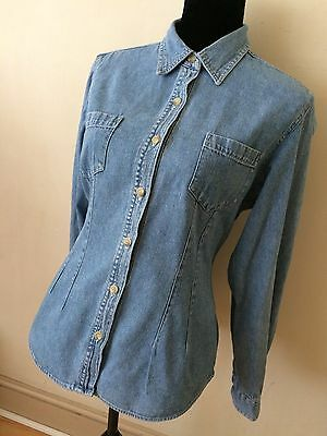 Womens Vintage Denim Blouse Size 14 Hippy Festival Summer Casual