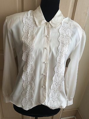 Womens Vintage 1980s Cream Lace Blouse New Romantic Victorian Size 16/18