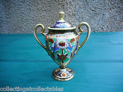 Antique Hand Painted Noritake  Lidded Vase Bowl.  Circa 1902 - 1920