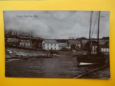 View from Pier LARGO Nr Leven Fife *Vintage* RP 1926 Houses Fishing Boat