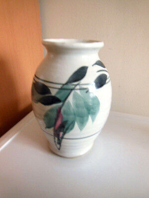Studio Pottery Stoneware Vase 8'' Tall White With Green, Pink And Black Leaves